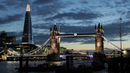 Illuminated Night Famous Landmark Tower Bridge London Skyline Shard Skyscraper Stock Footage