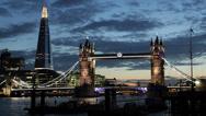 Stock Video Footage of Illuminated Night Famous Landmark Tower Bridge London Skyline Shard Skyscraper