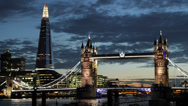 Illuminated Iconic Tower Bridge, London Skyline, Shard Skyscraper, Thames River Stock Footage