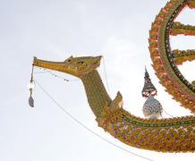 golden swan sculpture, thailand - stock photo