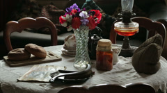 Table with edwardian era items Stock Footage