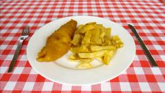 Plate of fish and chips. Stock Footage