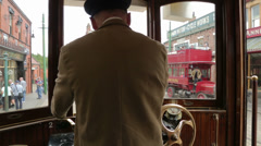 Tram and driver at beamish living museum, england Stock Footage