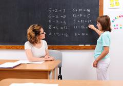 Schoolgirl solving math equations at chalkboard Stock Photos