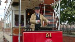 Tram at beamish living museum, england Stock Footage