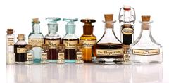Various mother tinctures of homeopathic medicine Stock Photos