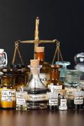 Various pharmacy chemicals of homeopathic medicine Stock Photos