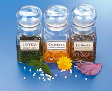 Various plant extract in bottles and homeopathic medication Stock Photos