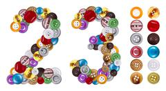 numbers 2 and 3 made of clothing buttons - stock photo