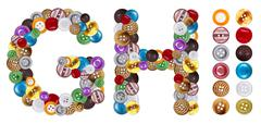 characters g and h made of clothing buttons - stock photo