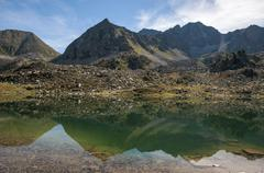 Landscape of a lake in the high mountains Stock Photos