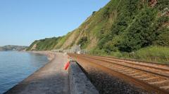 Modern Voyager train, Teignmouth, Devon Stock Footage