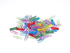 Paper clips and pegs. Stock Photos