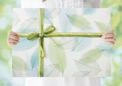 Woman holding a leaf pattern panel with ribbon Stock Photos
