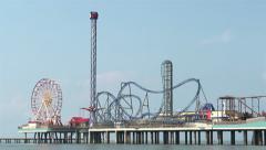 Pleasure Pier in Galveston Texas Stock Footage
