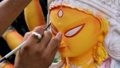 Painting On Clay Durga Idol Stock Footage