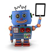 Vintage toy robot with tablet pc Stock Photos