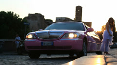 Pink stretched limo & Hen party 2 (slomo) Stock Footage