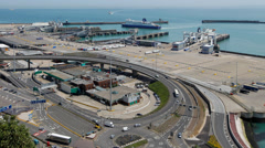 Traffic on the approach to the Port of Dover Stock Footage