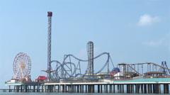 Pleasure Pier amusement park in Galveston TX Stock Footage