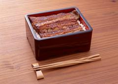 Broiled Eel on Rice, Served in Lacquered Box Stock Photos