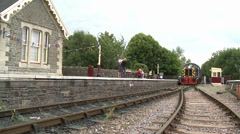 Diesel Shunter Pulling Carriages, Track Side Shot Stock Footage
