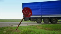 Old stop road sign in rural area Stock Footage