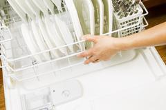 dishwasher ready for use - stock photo