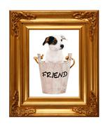 jack russell puppy in wooden bucket with golden photo frame - stock illustration