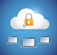 secured laptop and cloud storage connection. - stock illustration