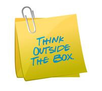 Stock Illustration of think outside the box message written on a post