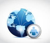 Globe social network concept illustration design Stock Illustration