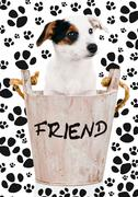 Jack russell puppy in wooden bucket Stock Illustration