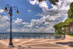 bolsena lake hdr - stock photo