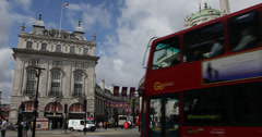 Ultra HD 4K Piccadilly Circus London UK Double Decker Bus Passing Traffic Day Stock Footage