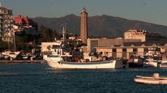 Fishing smack  leave Estepona port Stock Footage