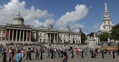 Ultra HD 4K Trafalgar Square People Pedestrians Tourists Visiting Passing London Stock Footage