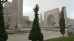 Sandstorm sweeps the 'Registan' in Samarkand, Uzbekistan Stock Footage