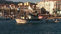 boat leaving port to go fishing, Mediterranean Stock Footage