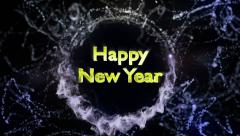 Happy New Year Text in Particles Stock Footage
