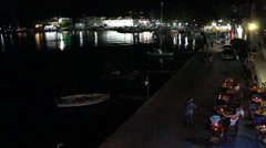 Old Harbour at night in Thasos Island Stock Footage