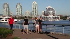 People exercising at False Creek 02 - stock footage