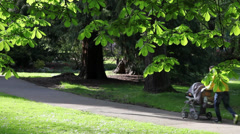 Man with baby in the park Stock Footage