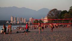 People playing volleyball in Vancouver Kitsilano 01 Stock Footage