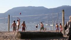 People playing volleyball in Vancouver Kitsilano 02 Stock Footage