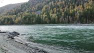Stock Video Footage of Panoramic of Mountain Katun river in the Altai, Russia