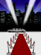 Limo and red carpet with spotlights Stock Illustration