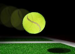tennis ball almost touching base line - stock illustration