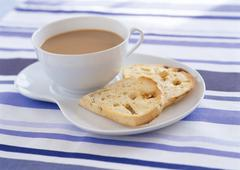Cafe Au Lait and Bread - stock photo