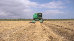 Ricefield harvester moves on camera - stock footage